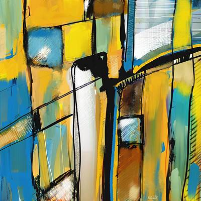 Painting - Abstract In Yellow And Blue by Patric Mouth