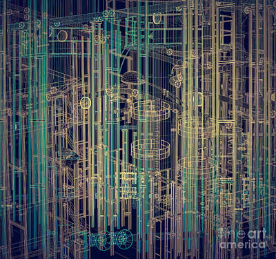 Production Photograph - Abstract Industrial And Technology Background by Michal Bednarek