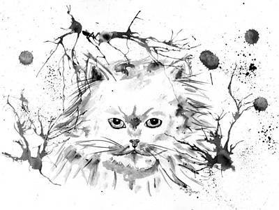 Painting - Abstract Ink - Black And White Persian Cat by Michelle Wrighton