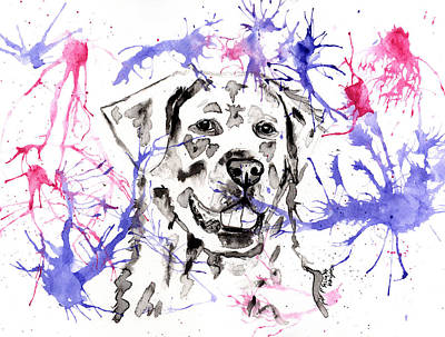 Painting - Abstract Ink - Golden Retriever by Michelle Wrighton