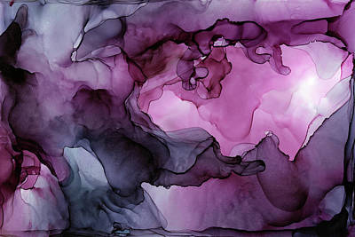 Ink Wall Art - Painting - Abstract Ink Painting Plum Pink Ethereal by Olga Shvartsur
