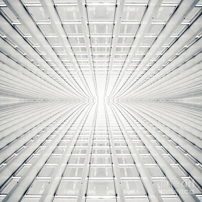 Opaque White Digital Art - Abstract Interior With Concrete Arcs In Black And White by Caio Caldas