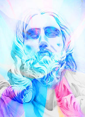 Art Print featuring the painting Abstract Jesus 3 by J- J- Espinoza
