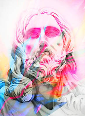 Art Print featuring the painting Abstract Jesus 4 by J- J- Espinoza