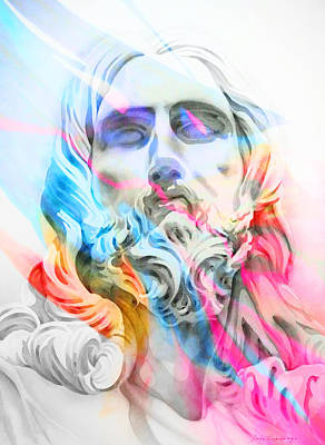Art Print featuring the painting Abstract Jesus 5 by J- J- Espinoza