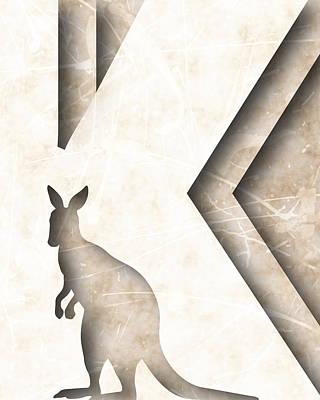 Kangaroo Digital Art - Abstract K by Vanessa Bates