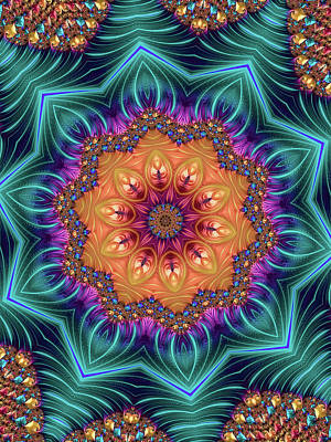 Art Print featuring the digital art Abstract Kaleidoscope Art With Wonderful Colors by Matthias Hauser