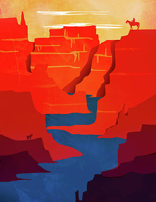 Abstract Landscape Canyon Art 2 - By Diana Van Art Print