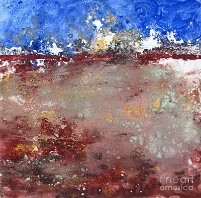 Monotype Mixed Media - Abstract Landscape II by Pamela Iris Harden