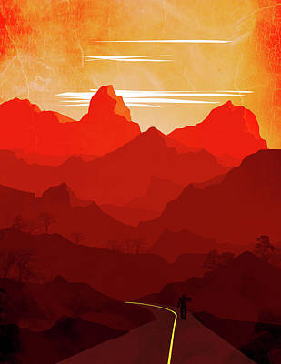 Abstract Landscape Mountain Road 1- By Diana Van Art Print
