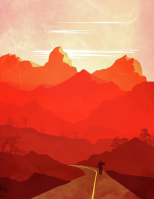 Abstract Landscape Mountain Road Art 5 - By Diana Van Art Print