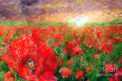 Mixed Media - Abstract Landscape Of Red Poppies by Rafael Salazar