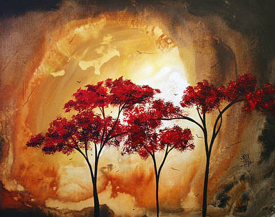 Red Leaf Painting - Abstract Landscape Painting Empty Nest 2 By Madart by Megan Duncanson