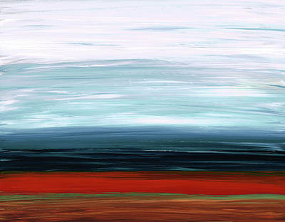 Abstract Landscape - Ruby Lake - Sharon Cummings Art Print by Sharon Cummings