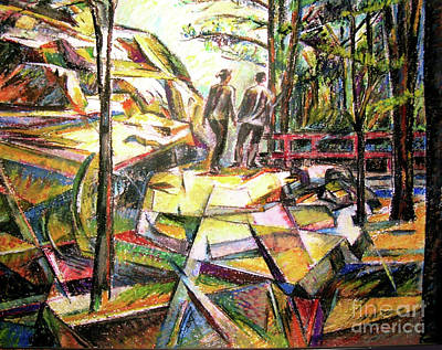 Drawing - Abstract Landscape With People by Stan Esson