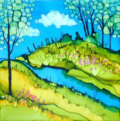 Painting - Abstract Landscape With Stream by Laurie Anderson