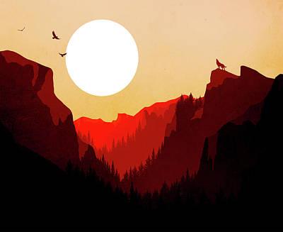 Abstract Landscape Yosemite Narional Park 3- By Diana Van Art Print