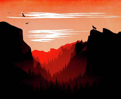 Abstract Landscape Yosemite National Park 6 - By Diana Van Art Print