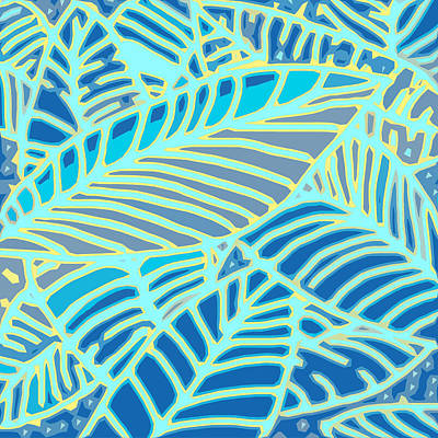 Digital Art - Abstract Leaves Blue And Aqua by Karen Dyson