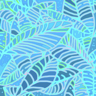 Digital Art - Abstract Leaves Blue And Turquoise by Karen Dyson