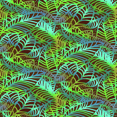 Digital Art - Abstract Leaves Chocolate  Shadows by Karen Dyson