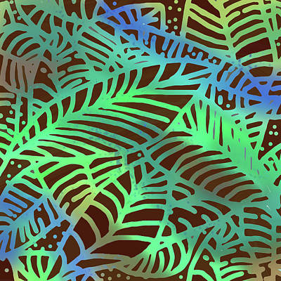 Digital Art - Abstract Leaves Cocoa Green by Karen Dyson