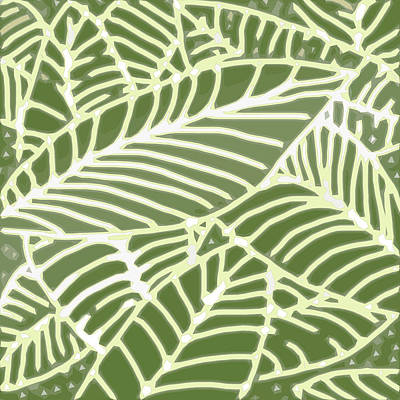 Digital Art - Abstract Leaves Fern Green by Karen Dyson