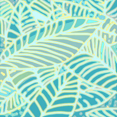 Digital Art - Abstract Leaves Teal And Aqua by Karen Dyson
