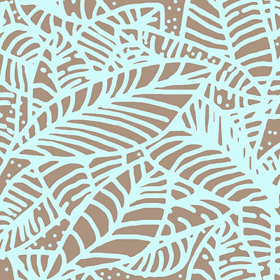 Digital Art - Abstract Leaves Warm Taupe Aqua by Karen Dyson