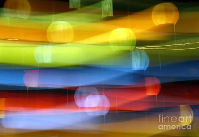 Abstract Movement Photograph - Abstract Light Painting In Rainbow Colors by Yali Shi