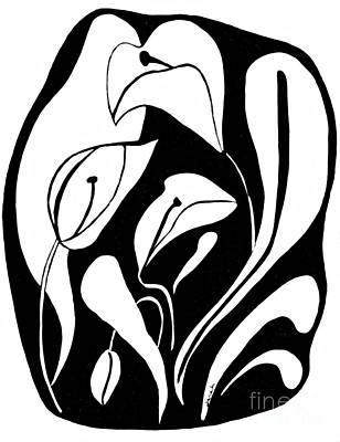 Lilies Drawings - Abstract Lilies by Sarah Loft