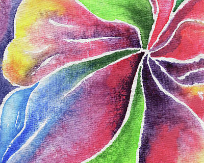 Lilies Royalty-Free and Rights-Managed Images - Abstract Lily And Orchid Watercolor Flowers by Irina Sztukowski