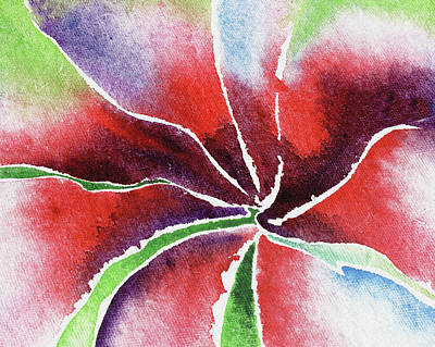 Lilies Royalty-Free and Rights-Managed Images - Abstract Lily Flower Watercolors by Irina Sztukowski