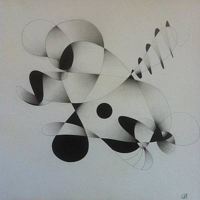 Abstract Forms Drawing - Abstract Line Form I by Eugene Geronimo
