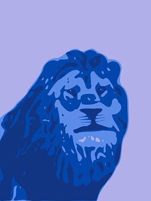 Teracotta Digital Art - Abstract Lion Contours Blue by Keshava Shukla