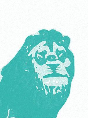 Teracotta Digital Art - Abstract Lion Contours Cyan by Keshava Shukla