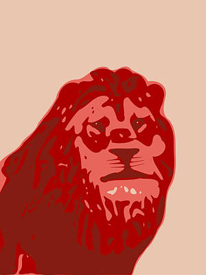 Digital Art - Abstract Lion Contours Red by Keshava Shukla