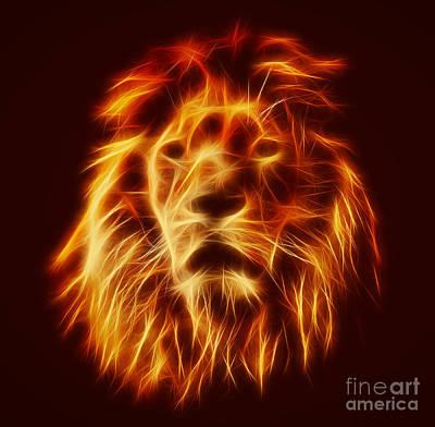 Face Photograph - Abstract Lion Portrait by Michal Bednarek