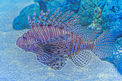 Digital Art - Abstract Lionfish by Ray Shiu
