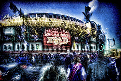 abstract look at the crowd filing in for a Cub's game Art Print