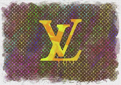 Abstract Royalty-Free and Rights-Managed Images - Abstract Louis Vuitton Logo Watercolor by Ricky Barnard