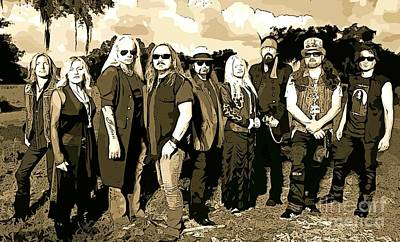 Tennessee Drawing - Abstract Lynyrd Skynyrd by John Malone