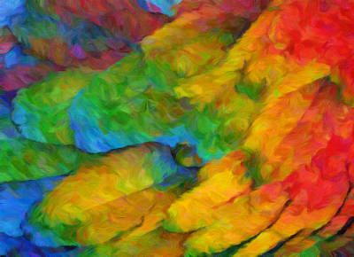Blue Digital Art - Abstract Macaw Feathers by Georgiana Romanovna