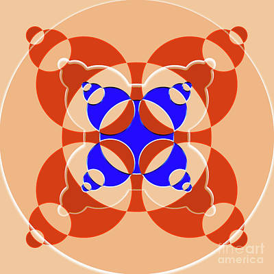 Modernart Digital Art - Abstract Mandala Pink, Orange And Blue Pattern For Home Decoration by Pablo Franchi