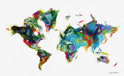Digital Art - Abstract  Map Of The World Map by Sir Josef - Social Critic - ART
