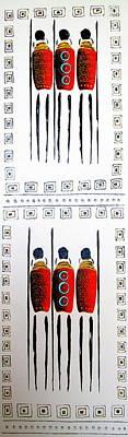 Abstract Masai Warriors Art Print