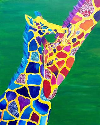 Painting - Abstract Mehndi Giraffe Mom And Baby by Artistic Indian Nurse