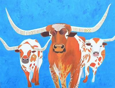 Painting - Abstract Mehndi Texas Longhorns by Artistic Indian Nurse