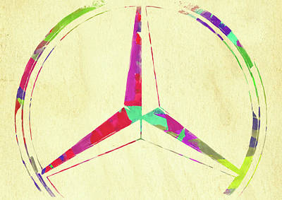 Photograph - Abstract Mercedes Benz Logo Watercolor II by Ricky Barnard