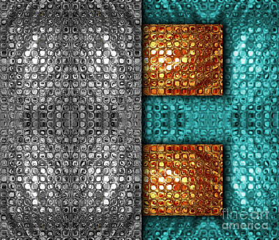 Abstract Metallic Grid - Silver Gold Turquoise Art Print